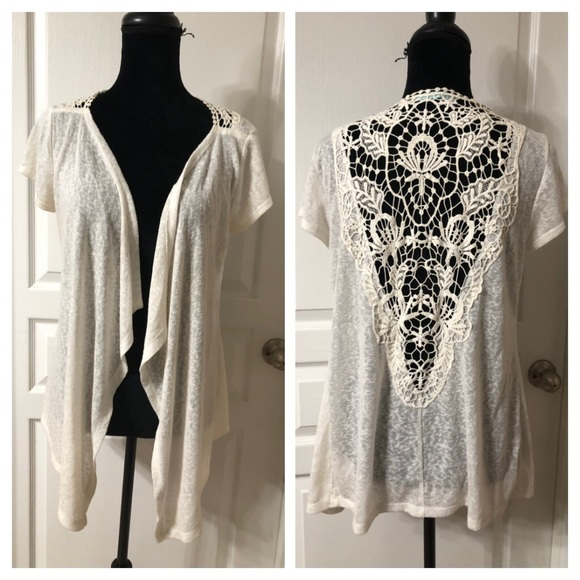 Maurices Sweaters - Maurices Ivory  Short Sleeve Cardigan